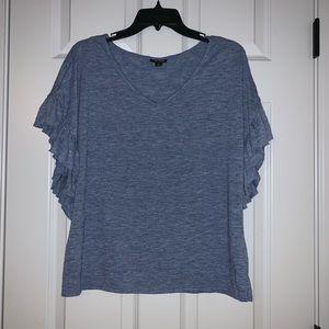 a.n.a Blue Knit Ruffled Top